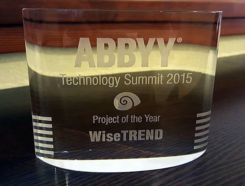 Award by ABBYY at 2015 Technology Summit for 2015 Project of the Year OCR